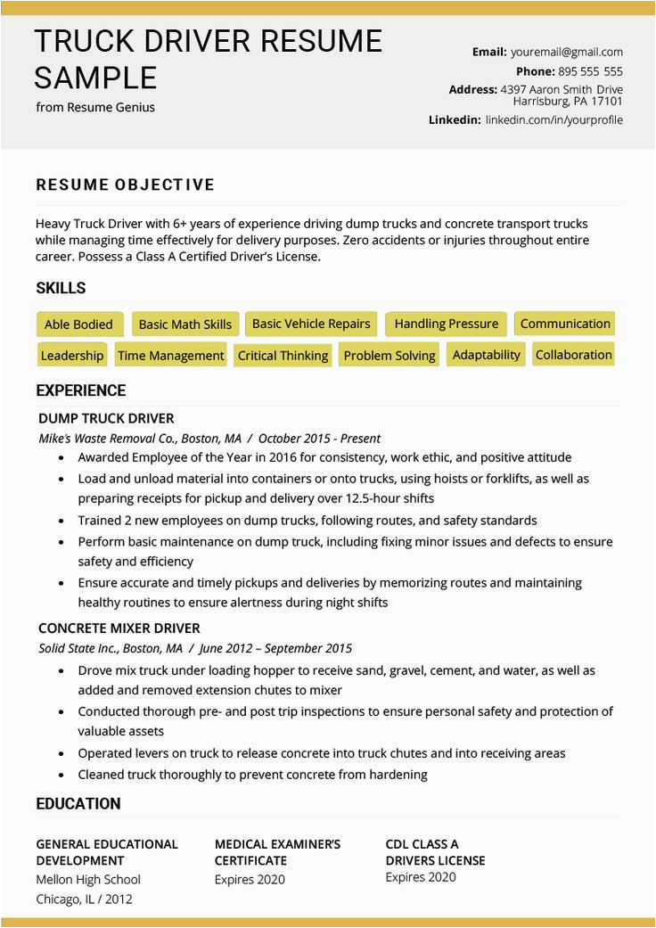 Resume Samples for Truck Drivers with An Objective Truck Driver Resume Sample and Tips In 2020