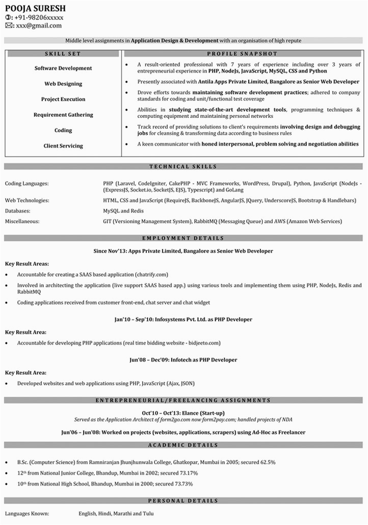 sample resume images for freshers