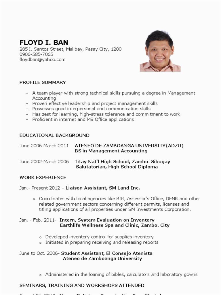 Sample Resume for Fresh Graduates