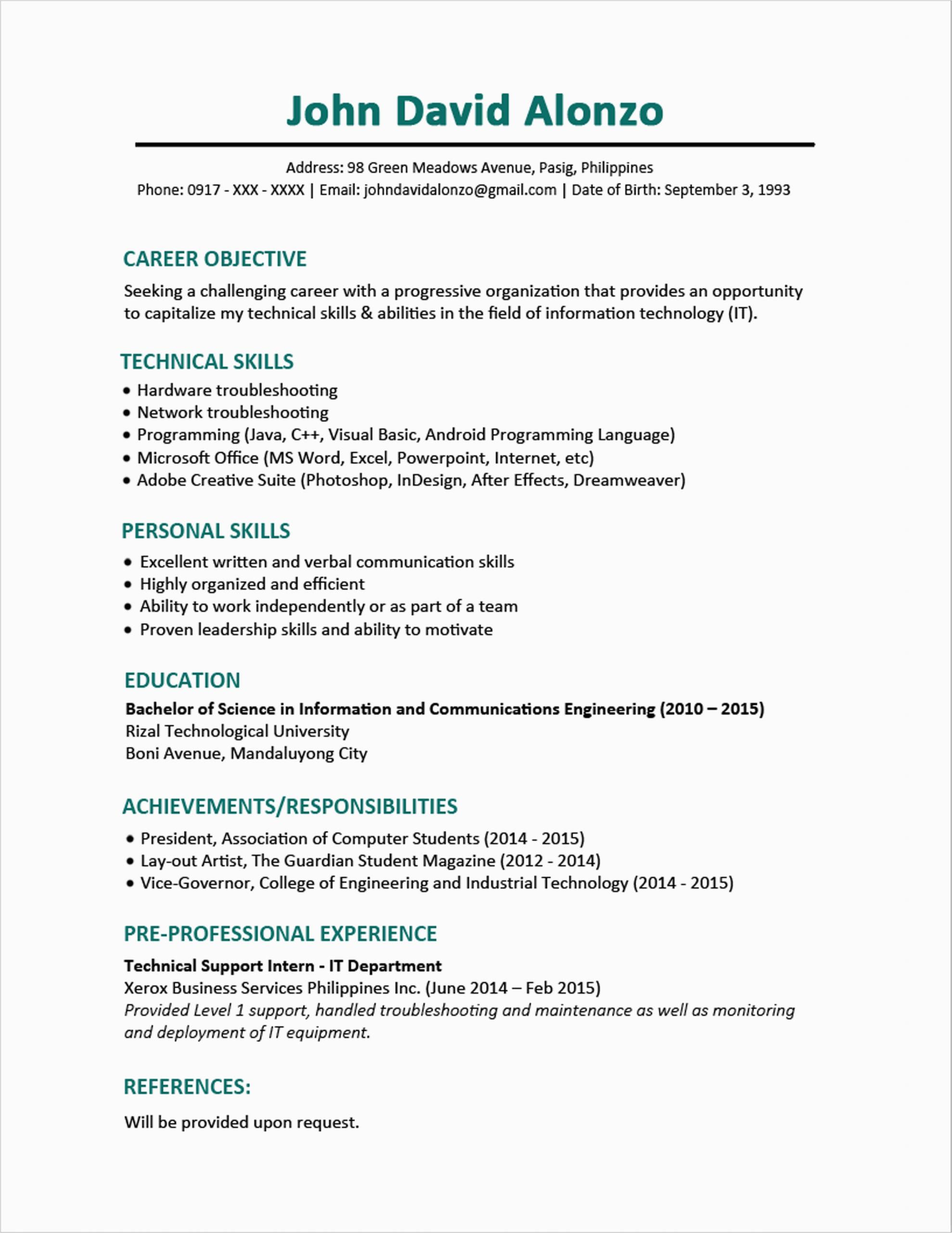 sample resume format fresh graduates single page