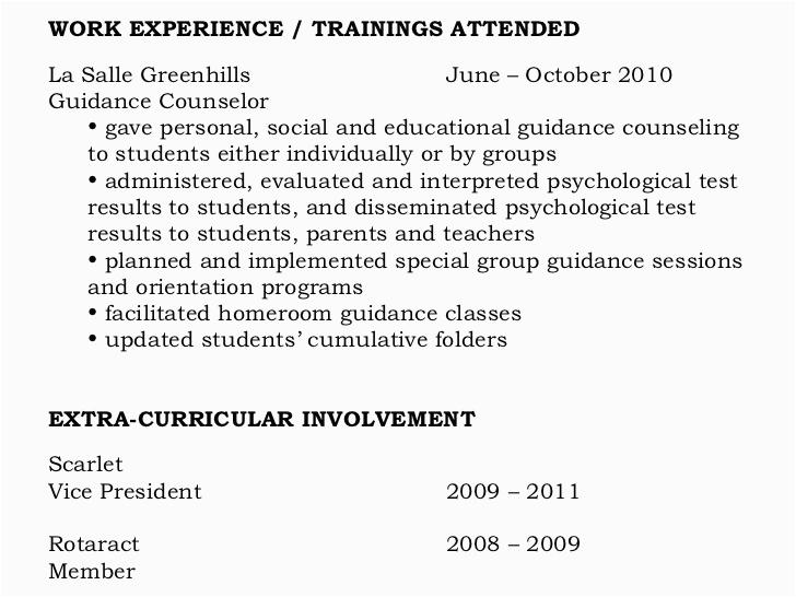 seminar training attended resume