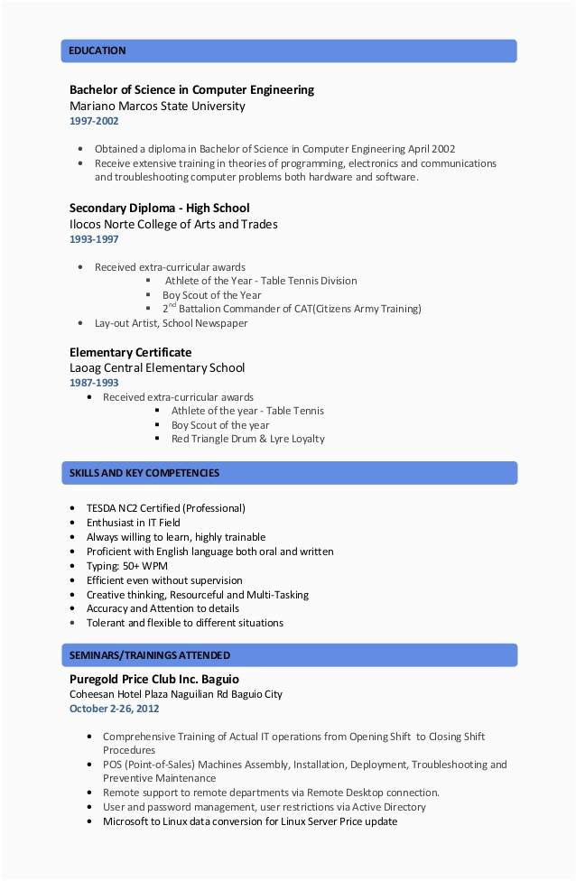 Resume Trainings and Seminars attended Sample Resume Seminars attended