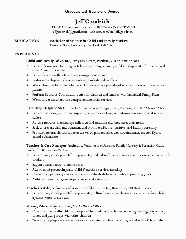 Resume with Bachelor S Degree Sample Graduate Bachelor Degree Resume Exampleresumecv