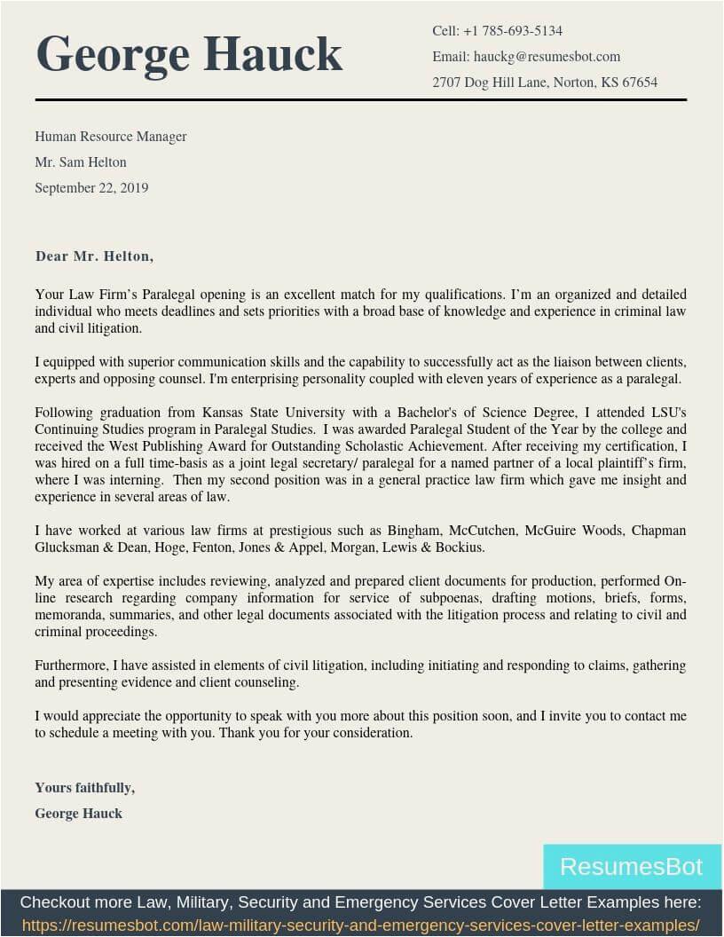 paralegal apprenticeship cover letter