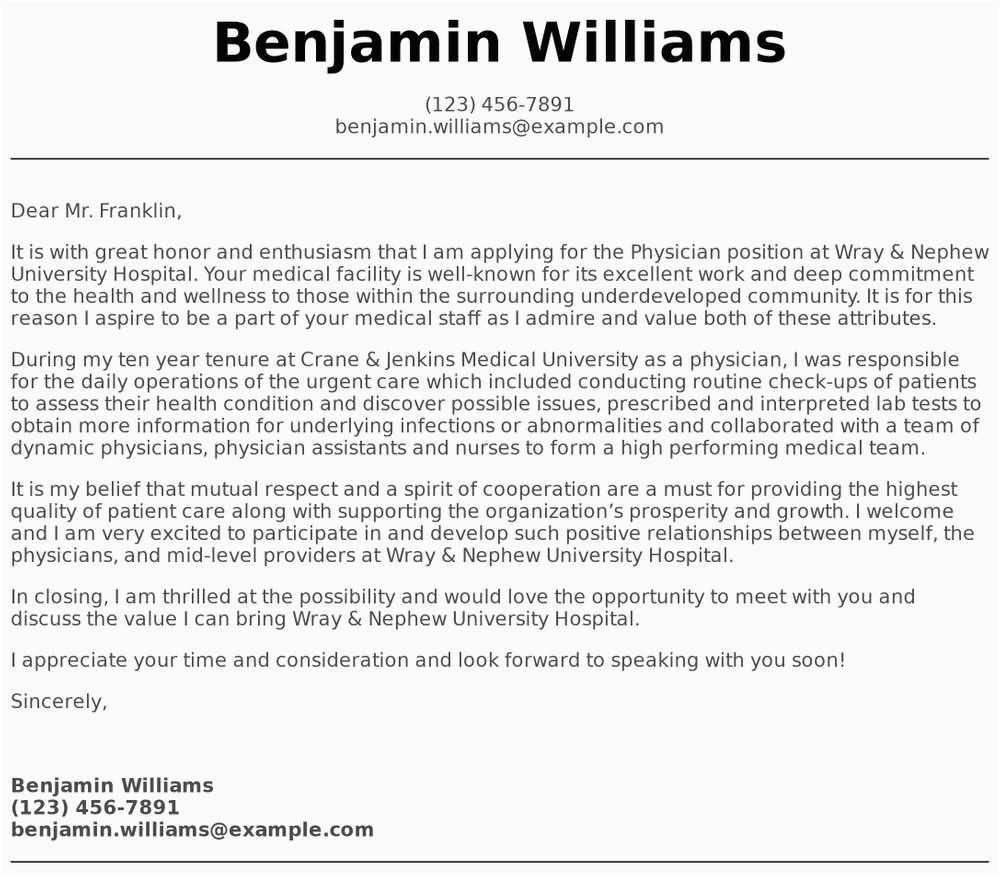 cover letter sample physician assistant