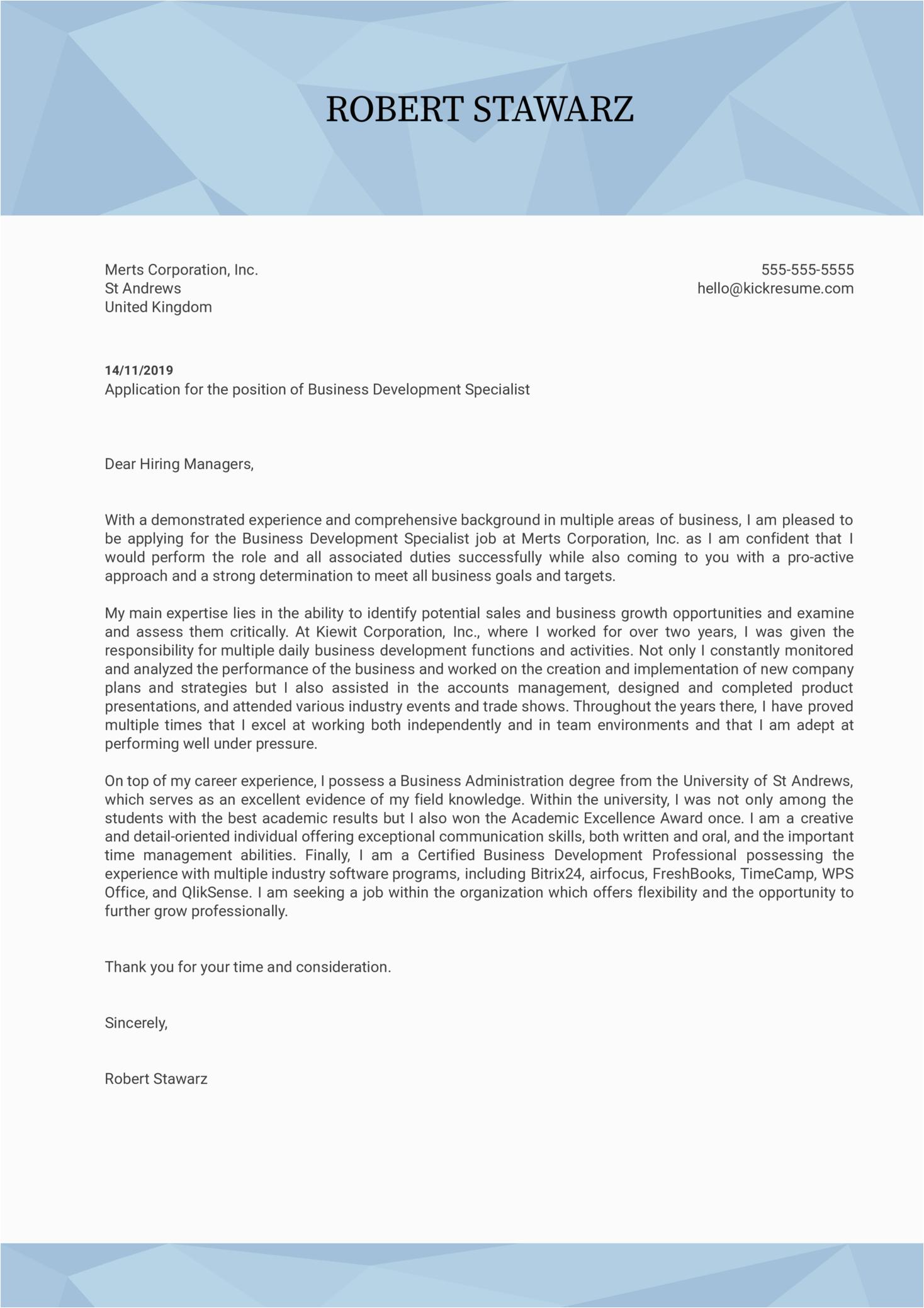 Sample Cover Letter for Resume Business Development Business Development Specialist Cover Letter Sample