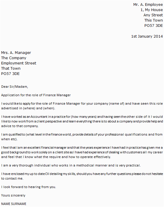 finance manager cover letter example