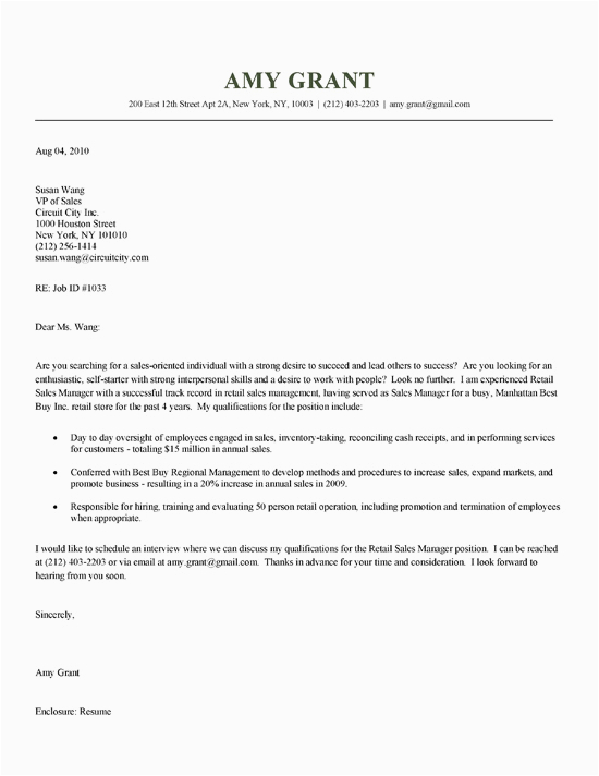 retail sales cover letter example