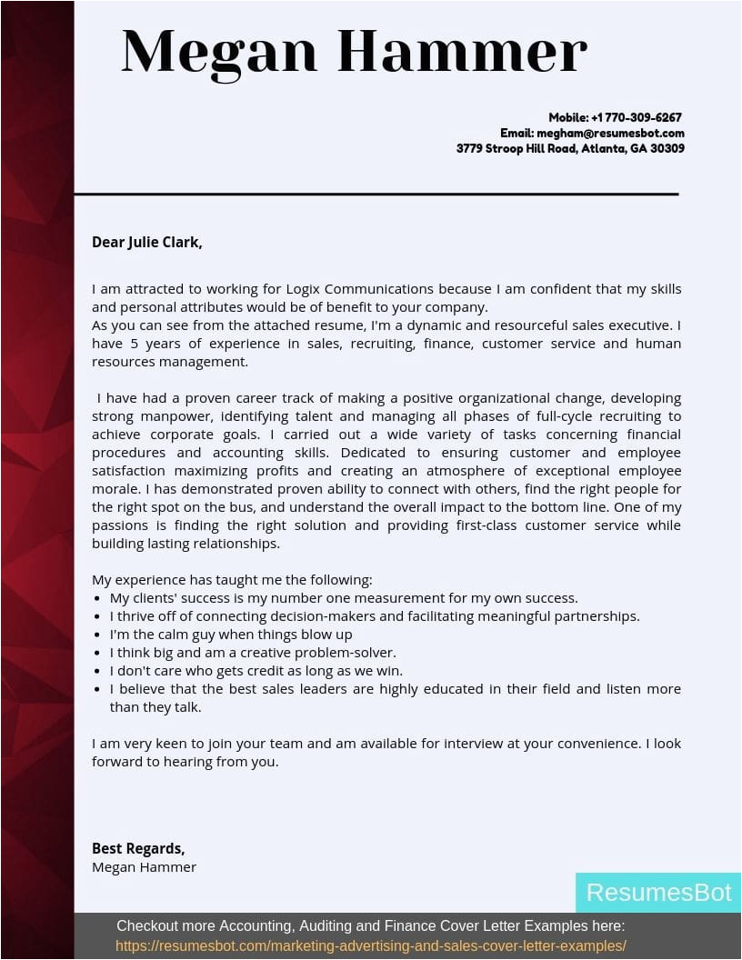 account executive cover letter example