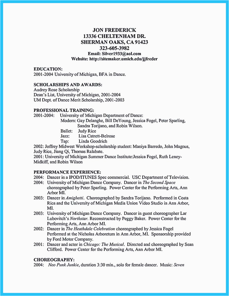 Sample Dance Resume for College Audition the Best and Impressive Dance Resume Examples Collections
