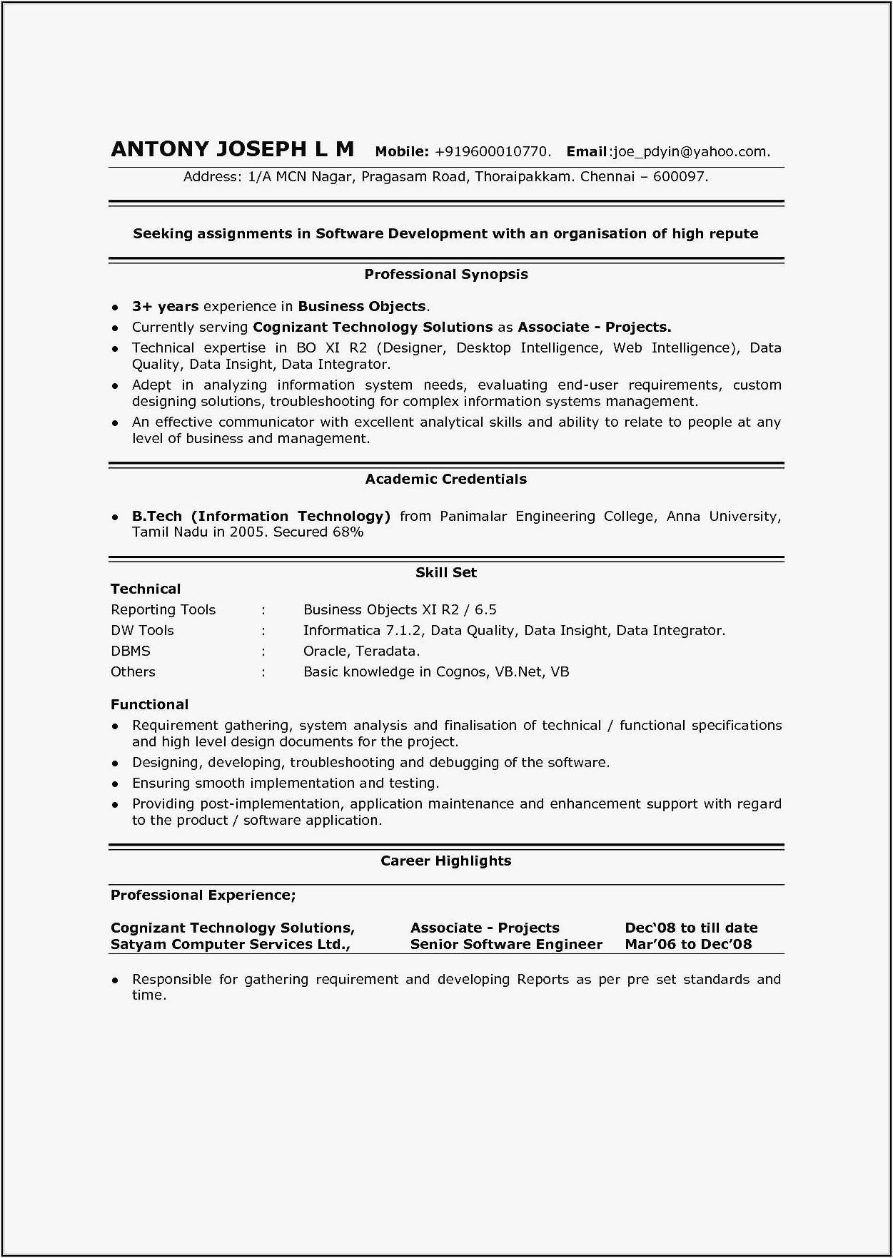 sample resume for dot net developer fresher