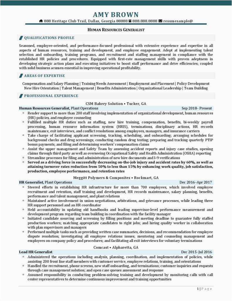 human resources generalist resume examples