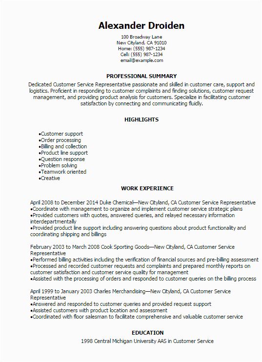 Sample Professional Summary for Customer Service Resume 1 Customer Service Representative Resume Templates Try