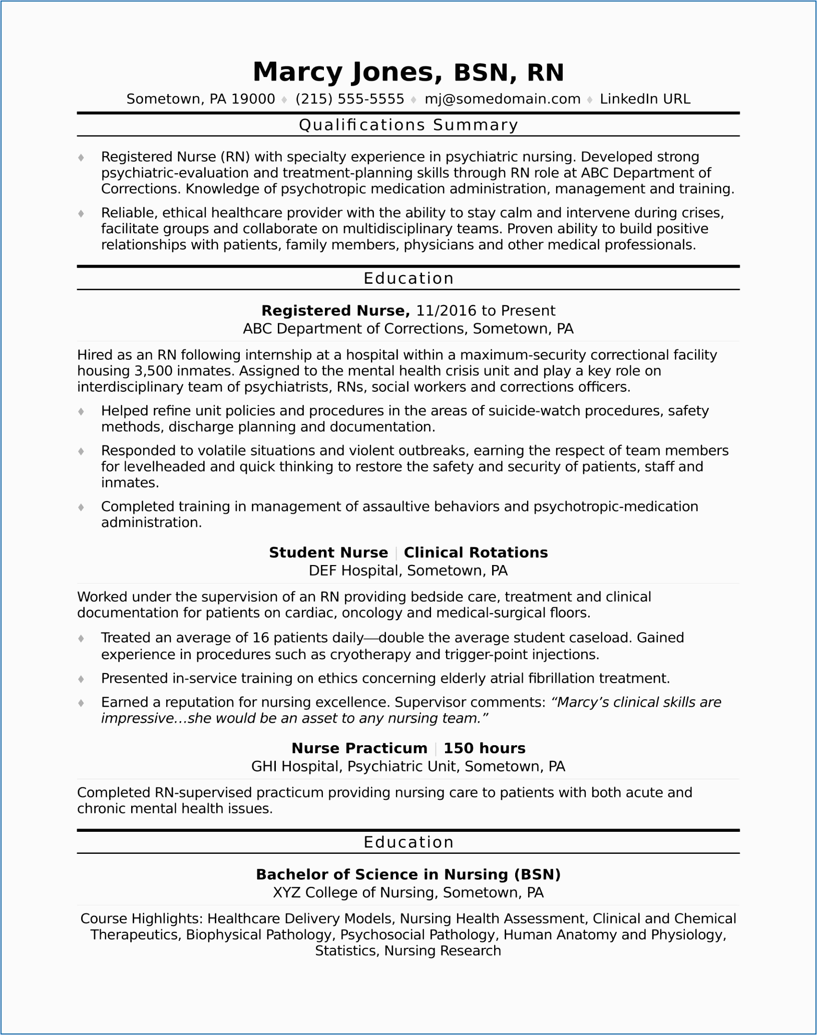 professional summary examples for nurses