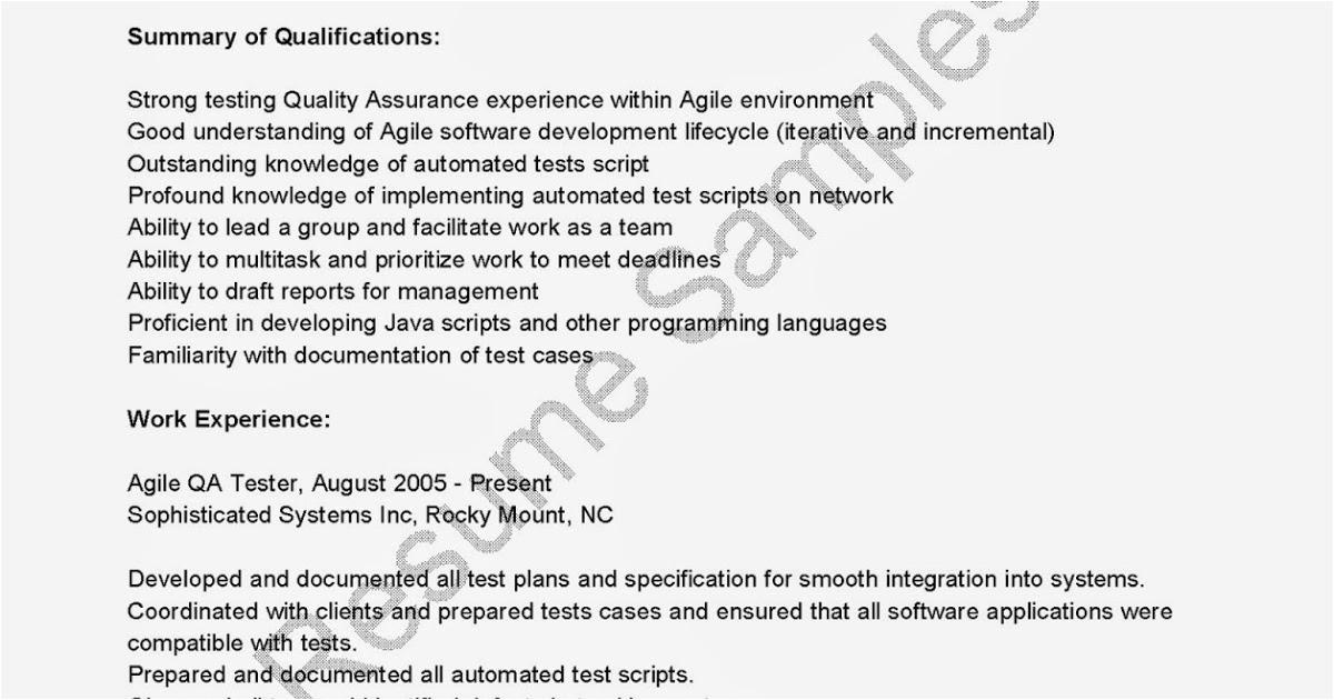 agile qa tester resume