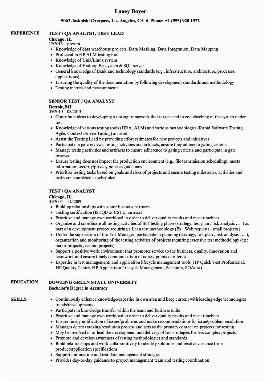 test qa analyst resume sample