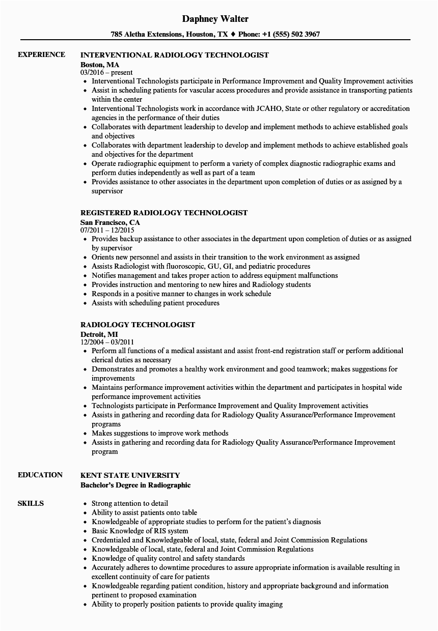 Sample Radiologic Technologist Resume with No Experience Resume for Radiologic Technologist Free Resume Templates