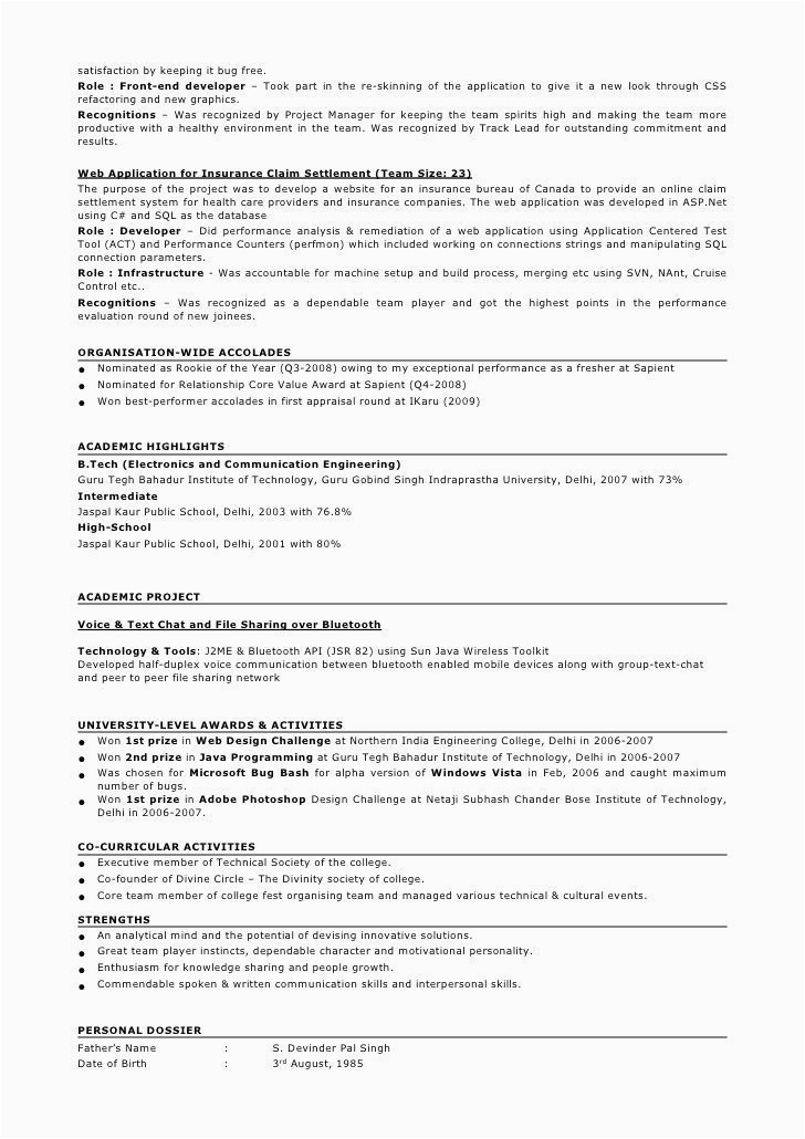 Sample Resume 5 Years Experience Java for 5 Years Experience In Java