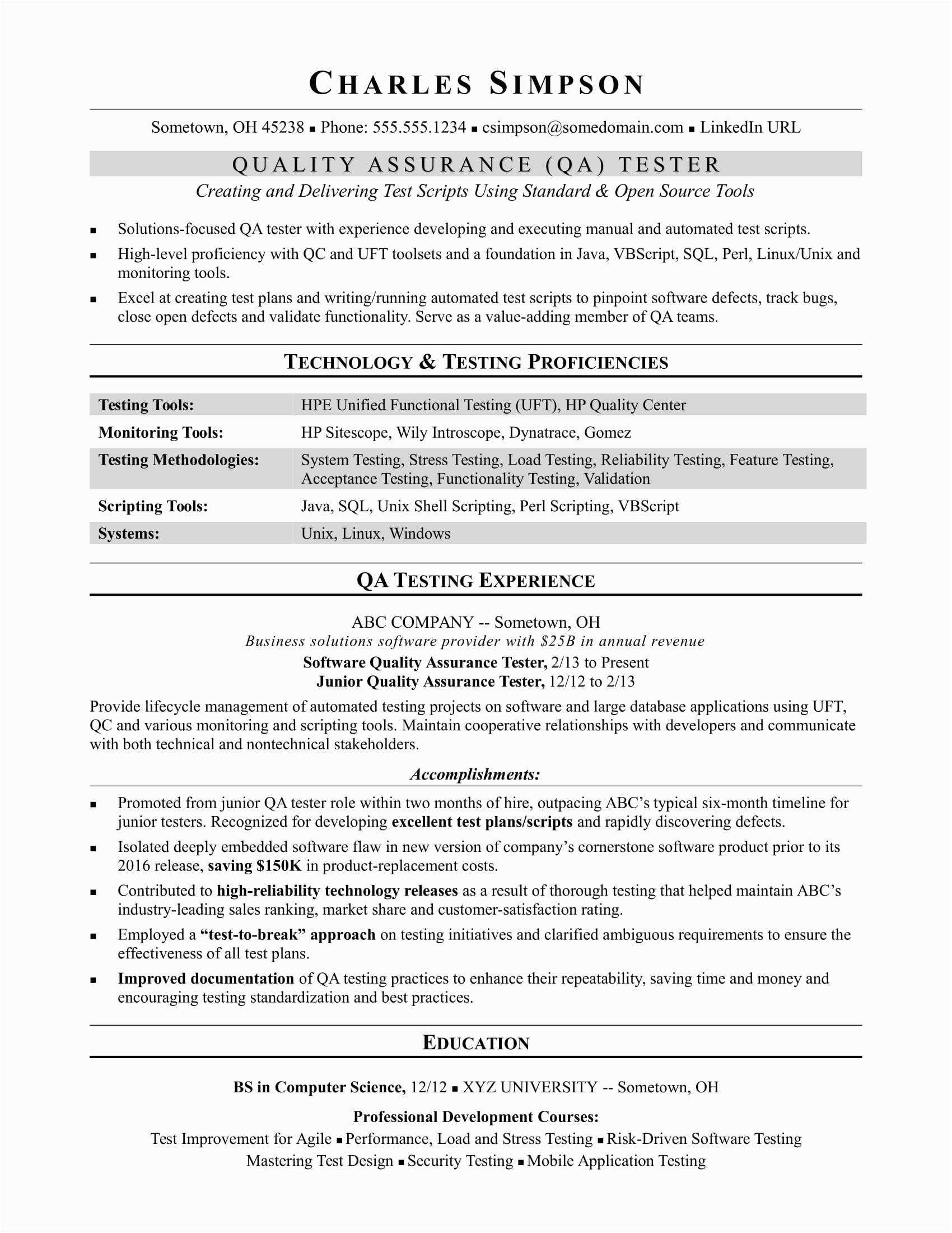 sample resume QA software tester midlevel