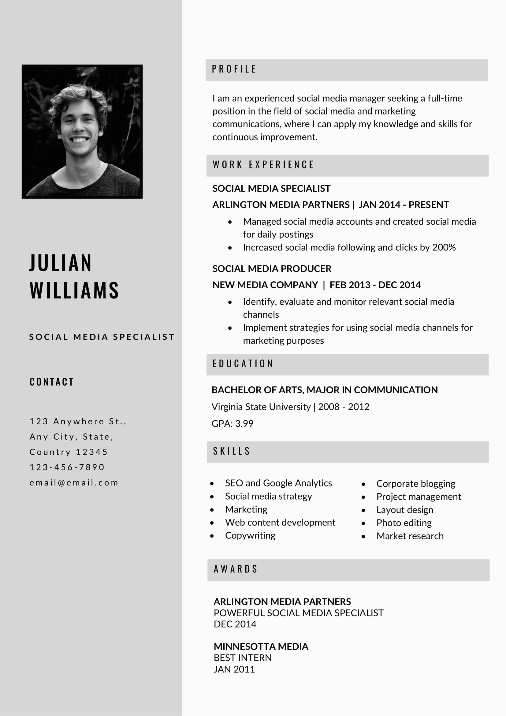 free grey resume template in ms word format
