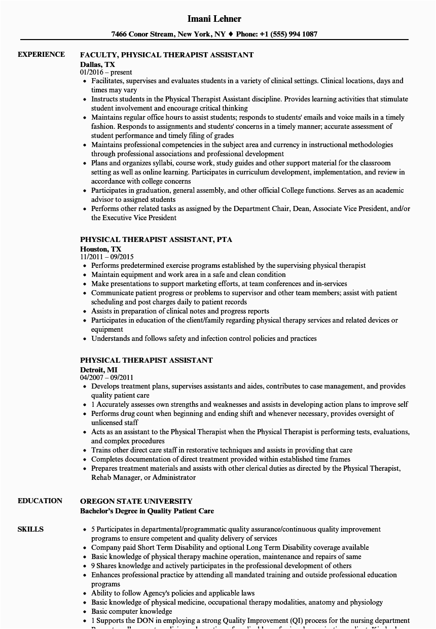 physical therapist assistant resume