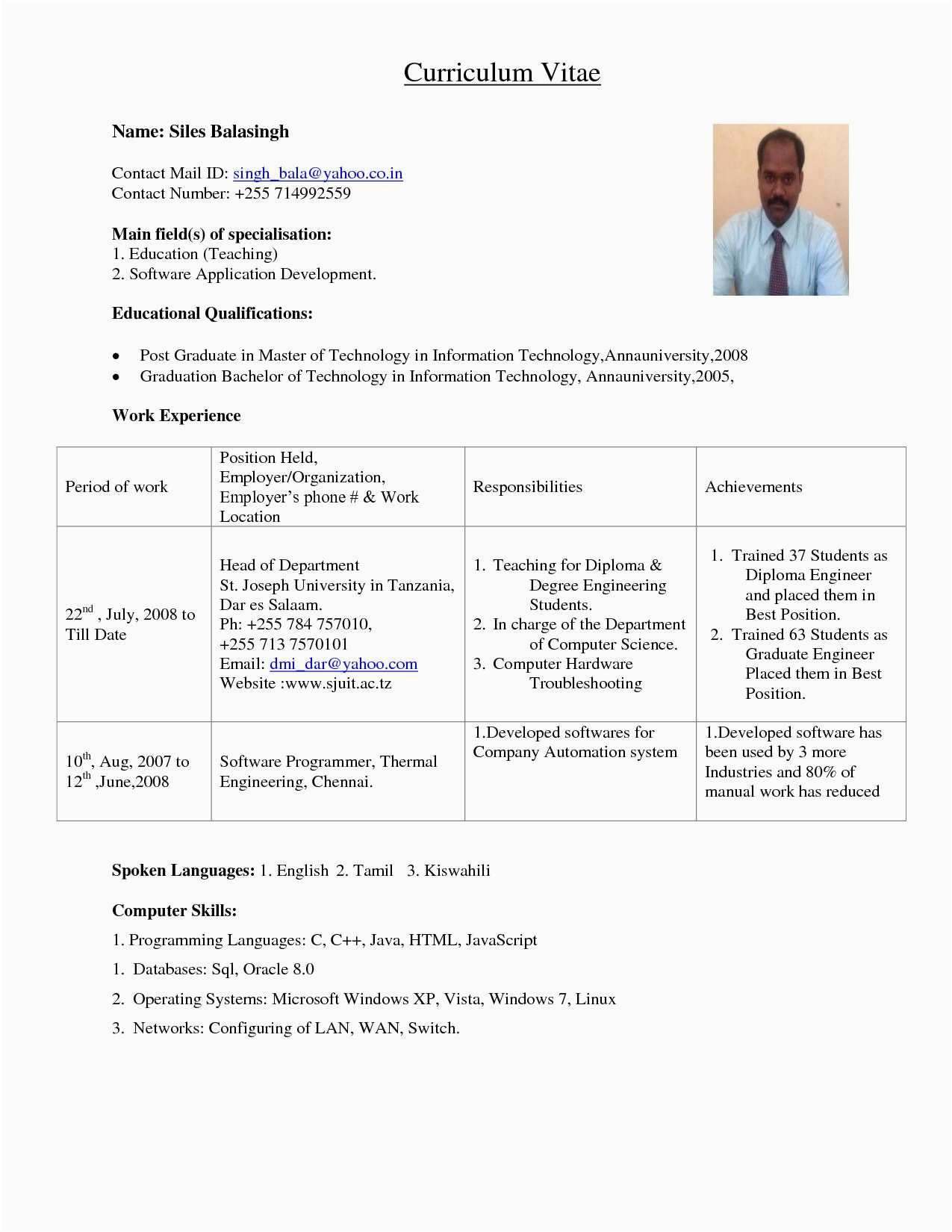 Sample Resume for assistant Professor In Civil Engineering Resume format for Lecturer Job In Engineering College