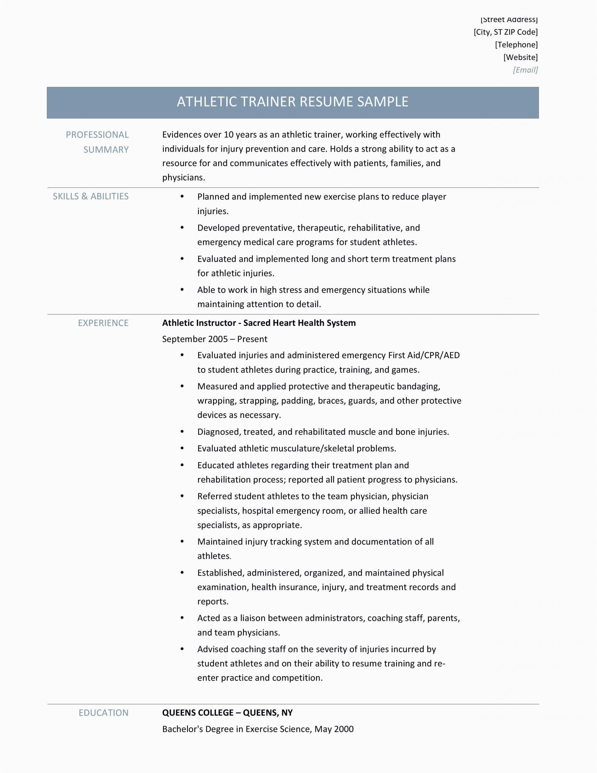 Sample Resume for athletic Trainer Position athletic Trainer Resume Samples Tips and Templates