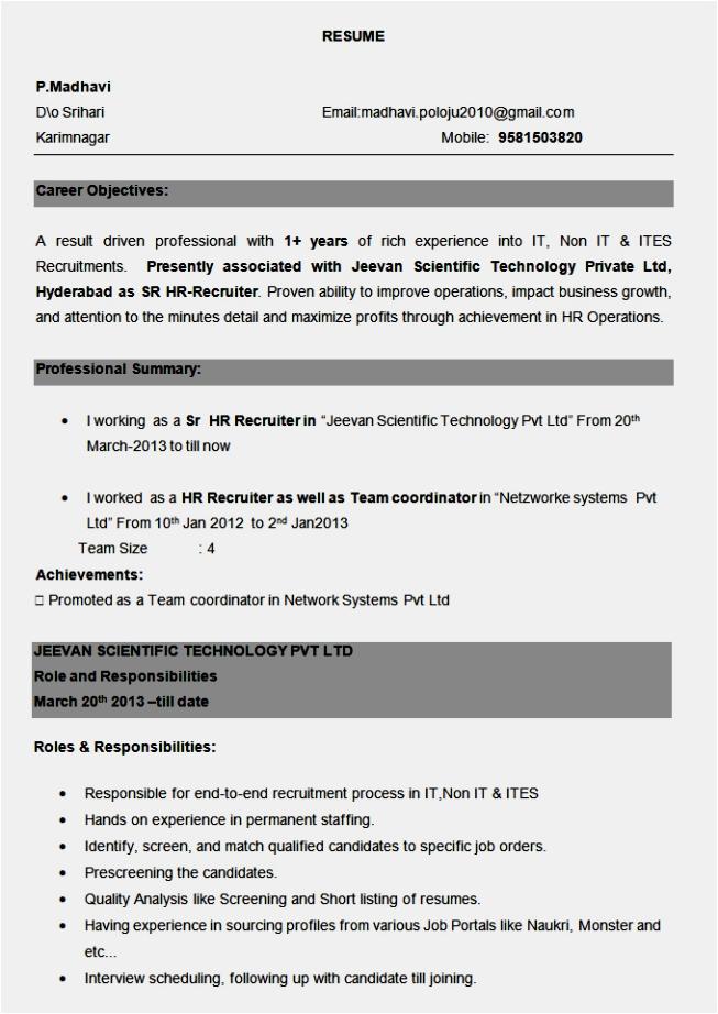 Sample Resume for Bpo Non Voice Pdf Resume format for Bpo Non Voice