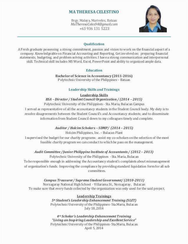 Sample Resume for Cpa Fresh Graduate Philippines Sample Resume Philippines format Fresh Graduate Sample