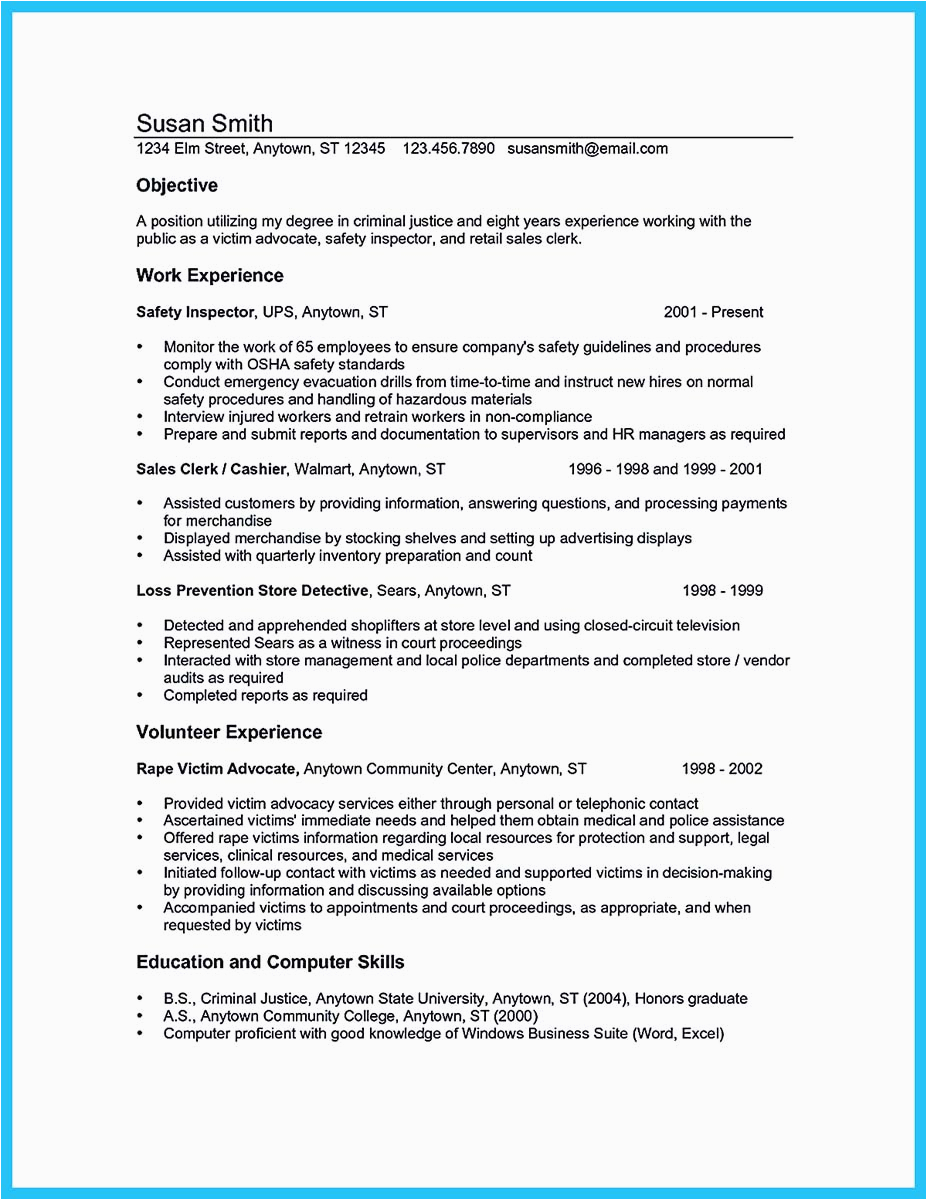 Sample Resume for Criminal Justice Student Best Criminal Justice Resume Collection From Professionals