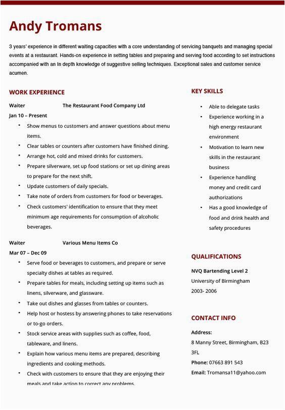 Sample Resume for Cruise Ship Waiter Sample Resume for Waiter In Cruise Ship Resume Examples