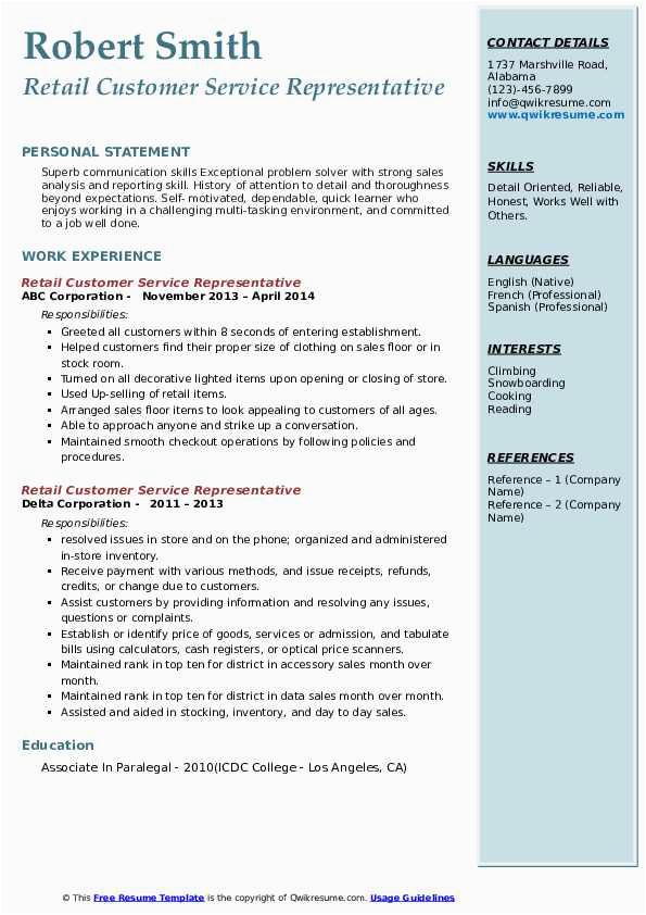 retail customer service representative