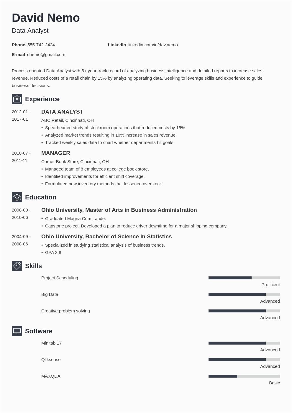 resume for data analyst fresher