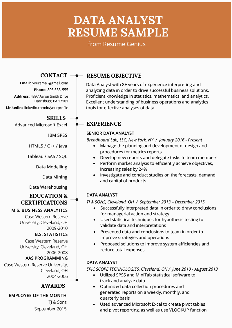 Sample Resume for Data Analyst Freshers Resume for Data Analyst Fresher
