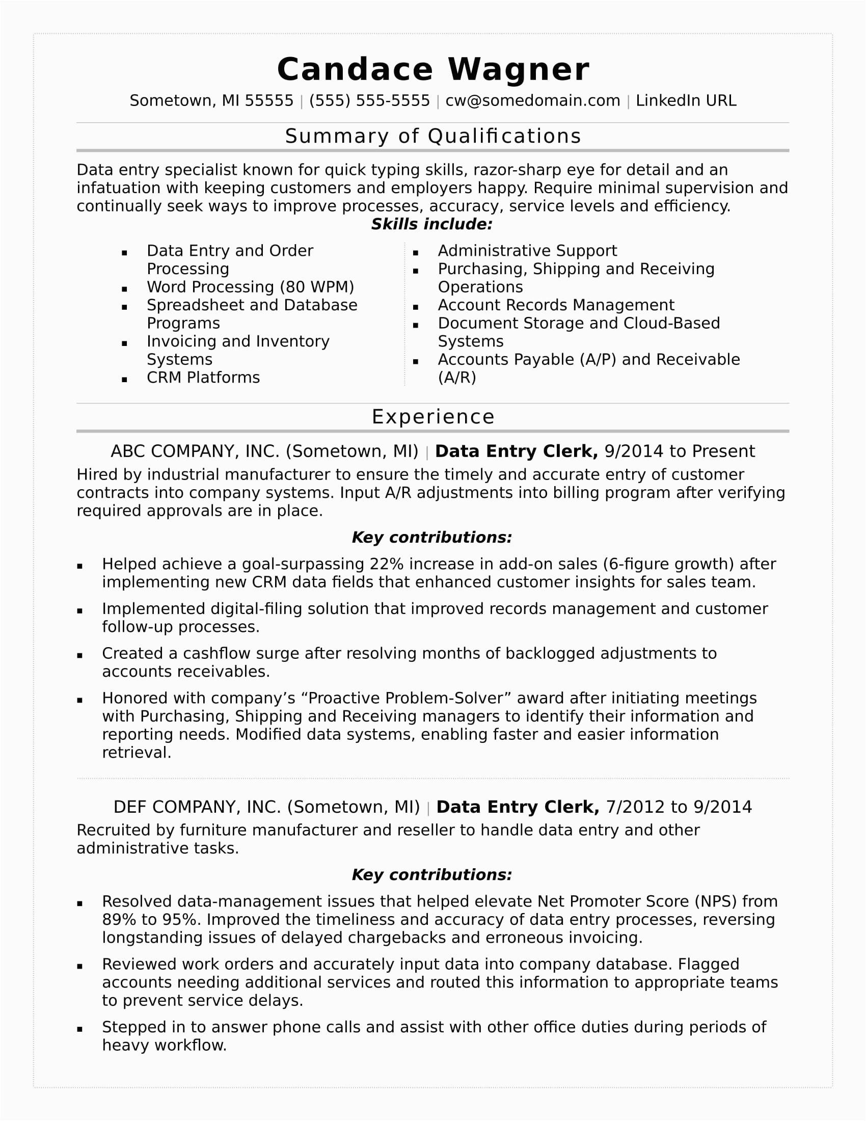 Sample Resume for Data Entry Position Data Entry Resume Sample