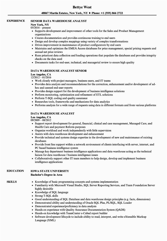 Sample Resume for Data Warehouse Analyst Data Warehouse Analyst Resume Samples