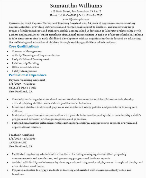 Sample Resume for Daycare assistant Teacher Free 42 Teacher Resume Templates In Pdf