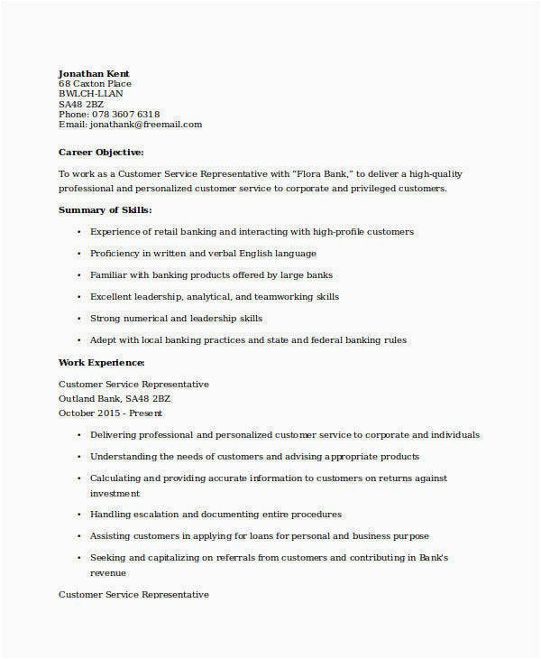 professional banking resume