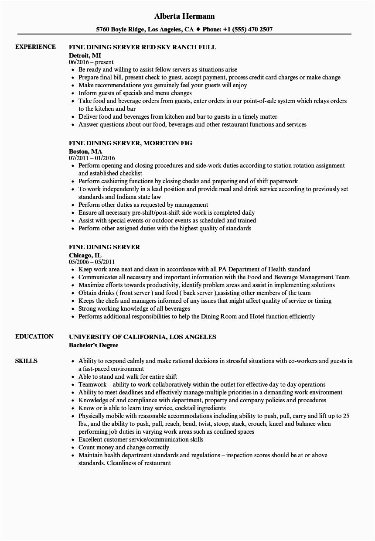 Sample Resume for Fine Dining Server Fine Dining Server Job Description for Resume Free