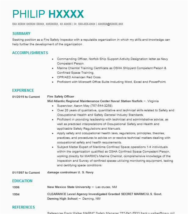 Sample Resume for Fire and Safety Officer Fresher Fire and Safety Fresher Resume format Fire Safety Ficer
