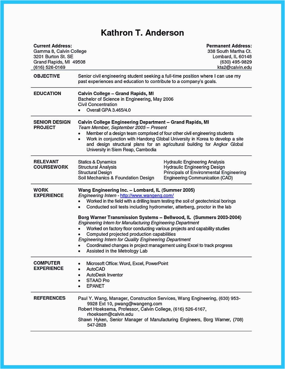 college student resume for internship