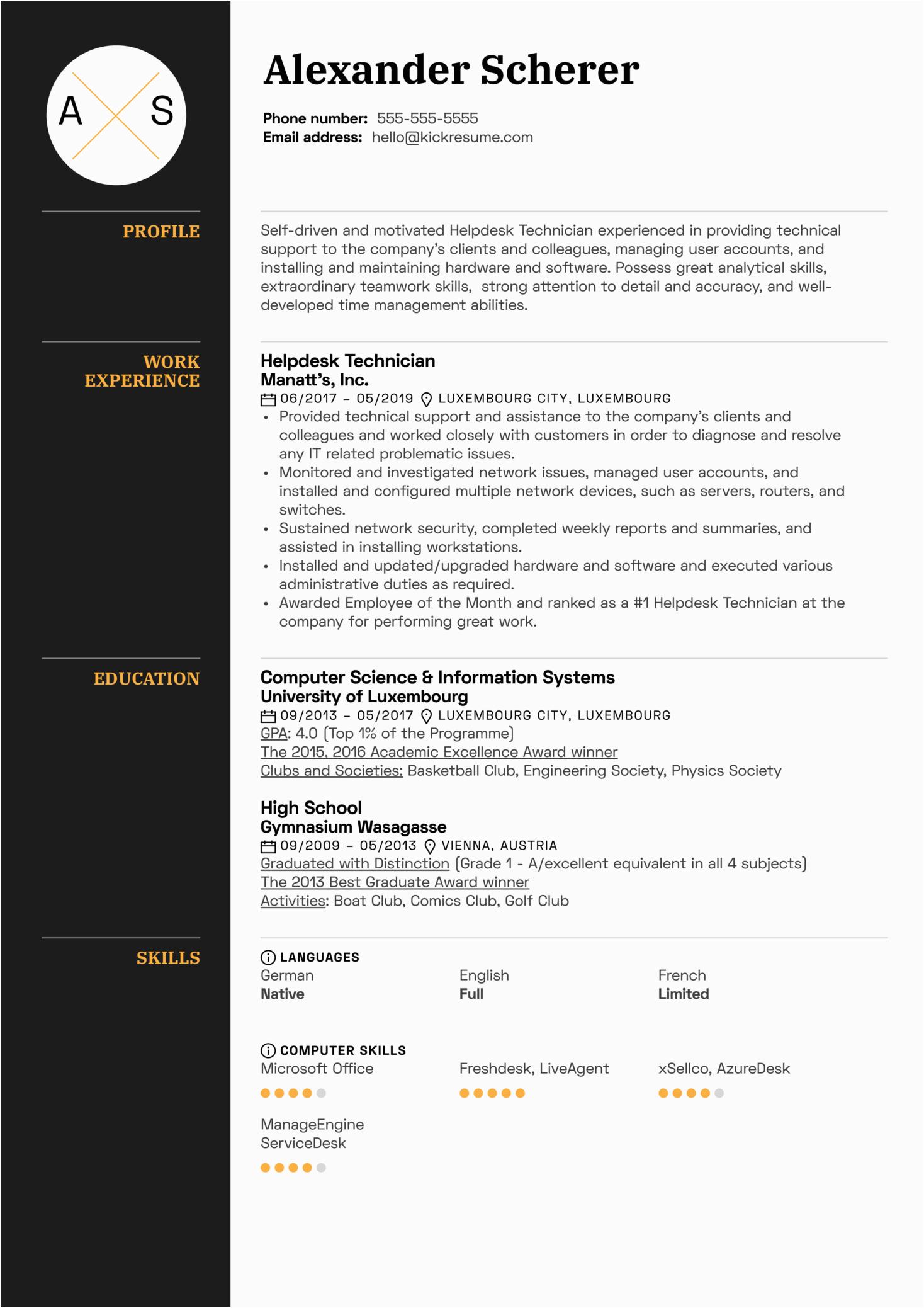 help desk technician resume sample