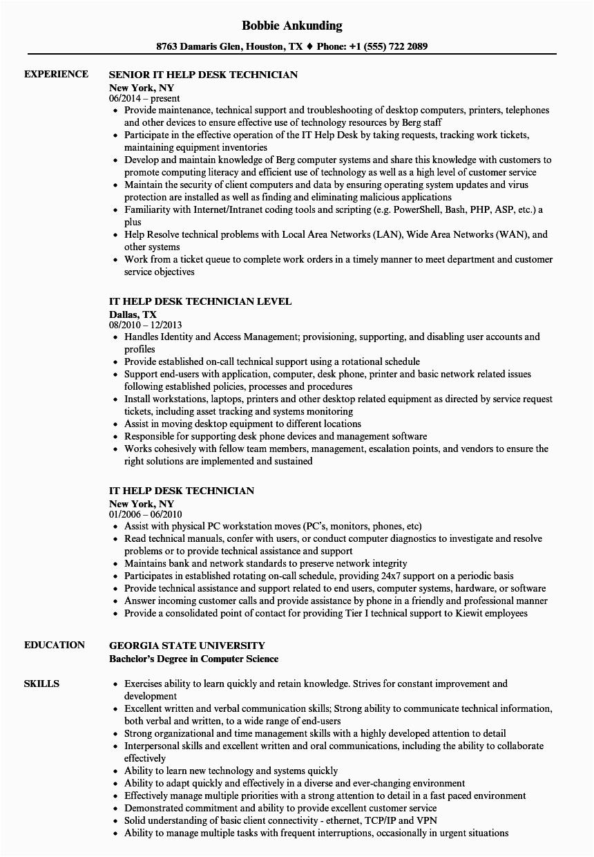 Sample Resume for It Help Desk Technician It Help Desk Technician Resume Samples