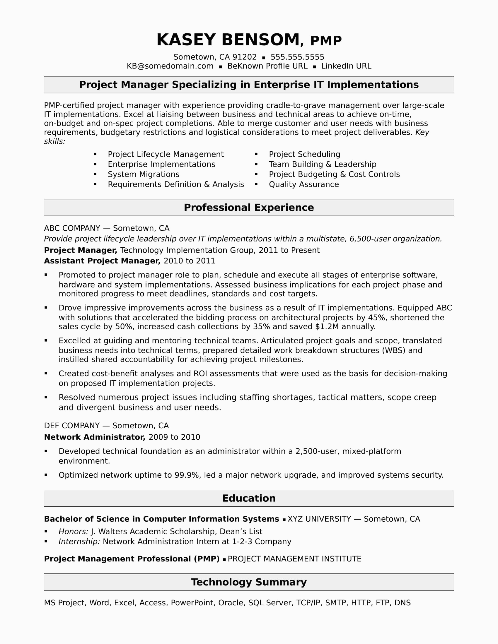 sample resume IT project manager midlevel