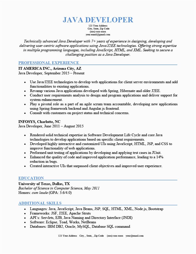 Sample Resume for Java Developer 7 Year Experience Java Developer Resume Sample & Writing Tips