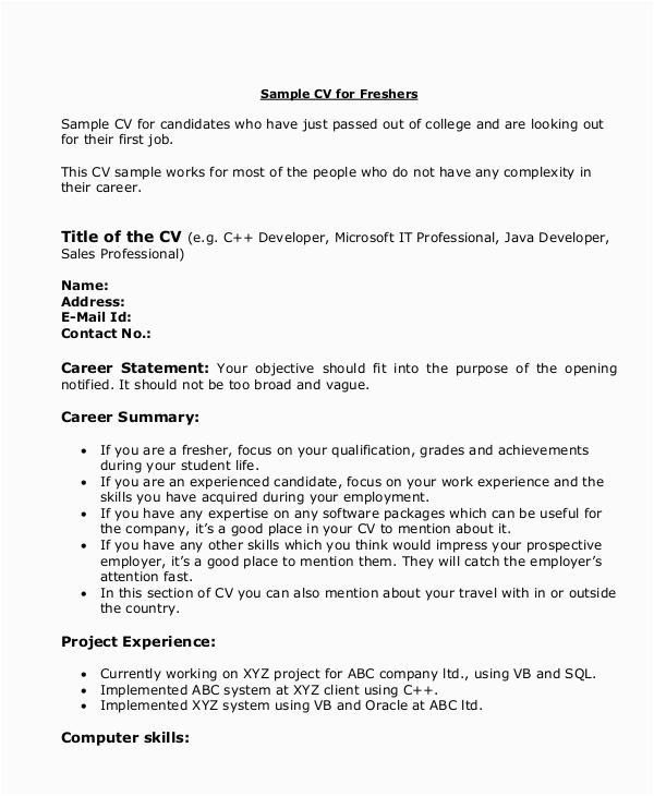 Sample Resume for Java Developer Fresher Free 10 Sample Java Developer Resume Templates In Ms Word