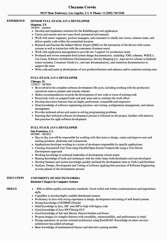 Sample Resume for Java Full Stack Developer Java Full Stack Developer Resume Sample