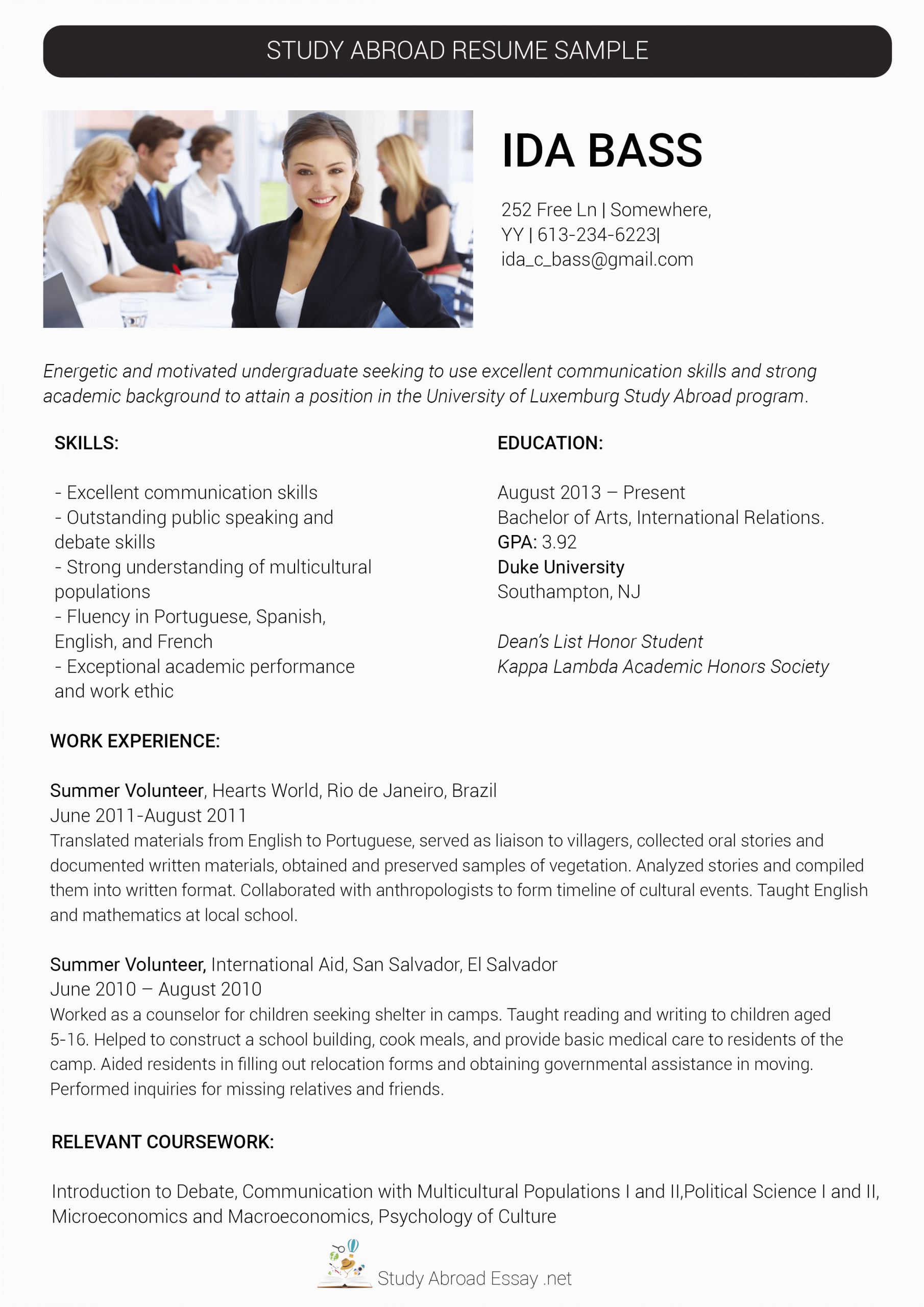 work abroad resume format for abroad job
