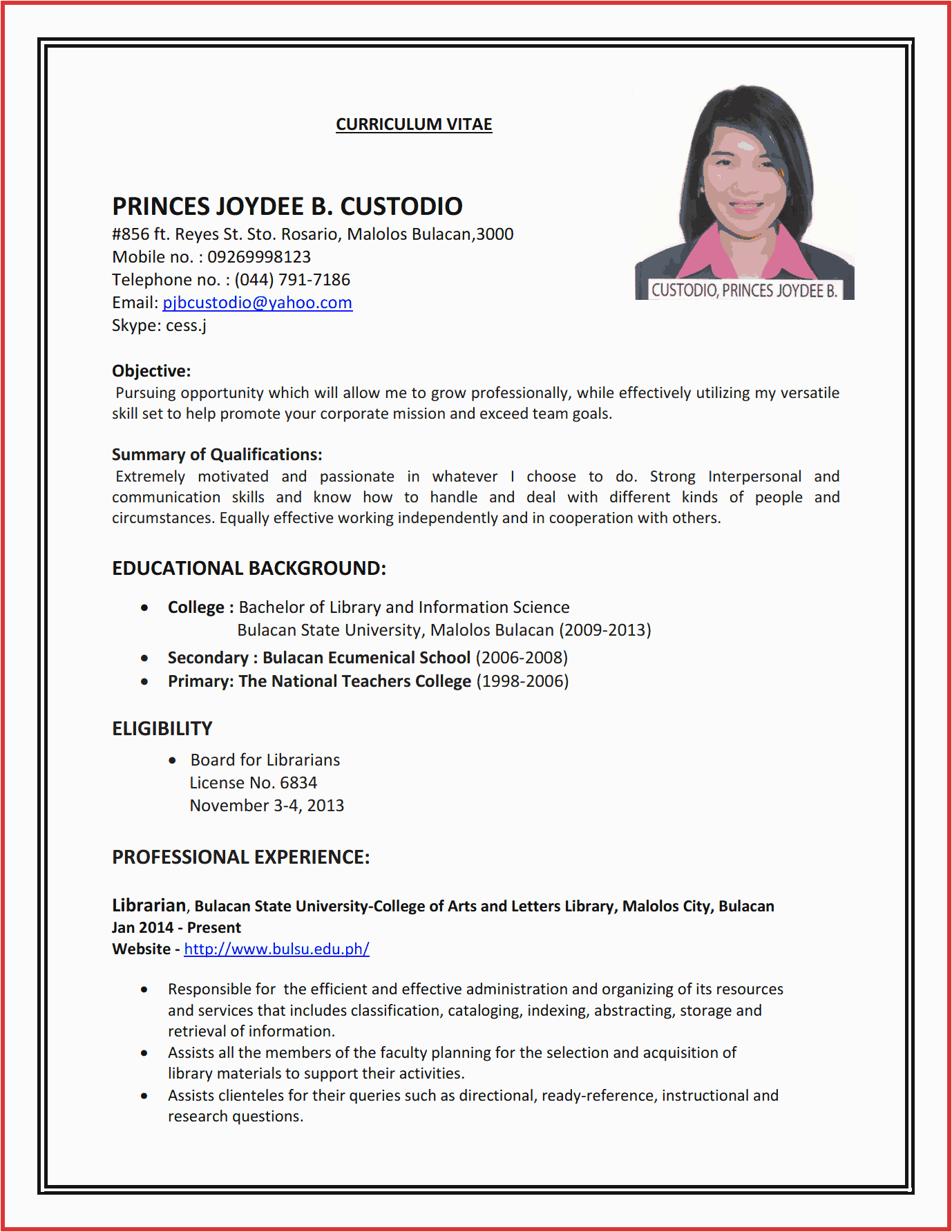 job application simple resume format