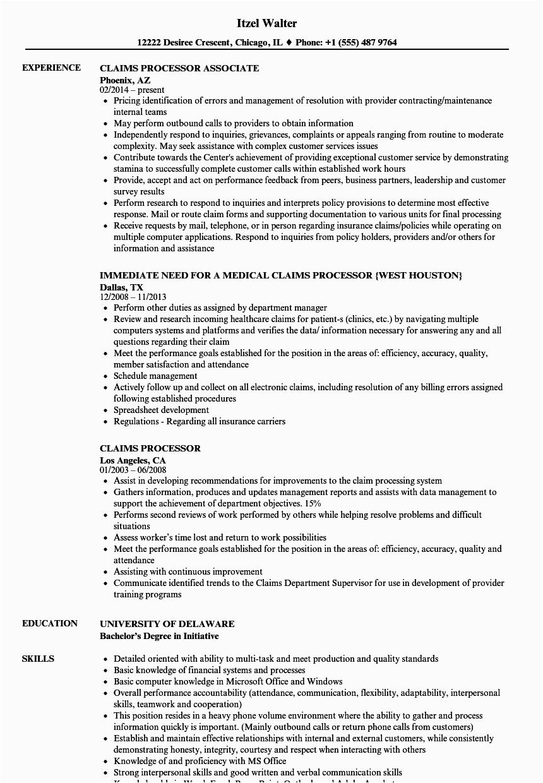 medical claims processor job description